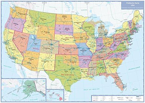 9783897642546: USA  - Politische Karte 1 : 5 000 000. Planokarte: Die 50 Bundestaaten der USA im Überblick, mit Zeitzonengrenzen, Verwaltungsgrenzen, Plano in Versandrolle