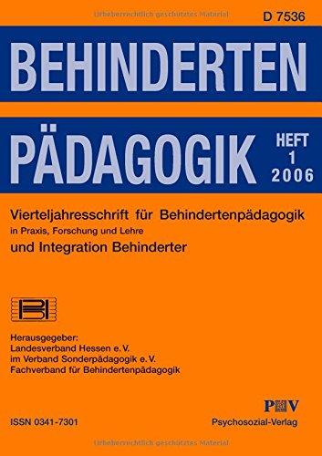 9783898065214: Behindertenpädagogik - Vierteljahresschrift für Behindertenpädagogik und Integration Behinderter in Praxis, Forschung und Lehre