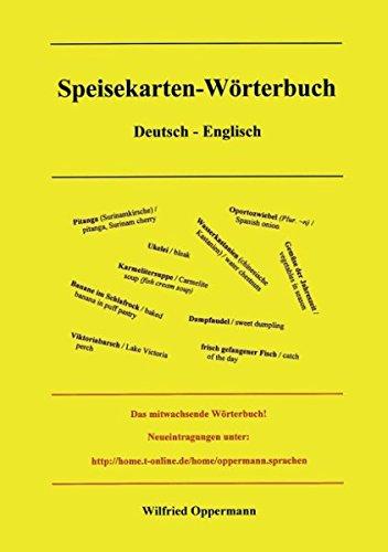 9783898119122: Speisekarten Wörterbuch Deutsch / Englisch
