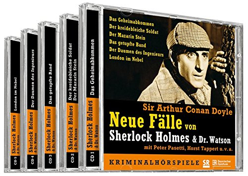 Neue Fälle von Sherlock Holmes & Dr. Watson. 5 CDS: 6 Kriminalhörspiele: Das Geheimabkommen / Der kreidebleiche Soldat / Der Mazarin Stein / Da ... / Der Daumen des Ingenieurs / London im Nebel