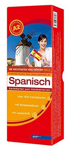 9783898318143: Karteikarten. Die wichtigsten 1000 Wörter Spanisch. Fortsetzung Niveau A2: Karteikarten zum Vokabelnlernen. 400 Karteikarten mit Beispielsätzen mit Lautschrift