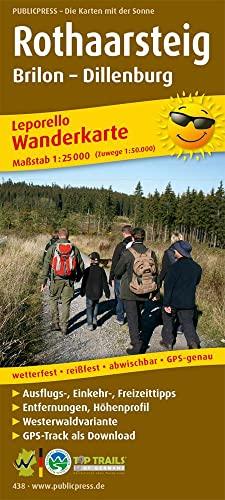 Wanderkarte Rothaarsteig, Brilon - Dillenburg 1 : 25 000: Leporello Wanderkarte mit Ausflugszielen,...