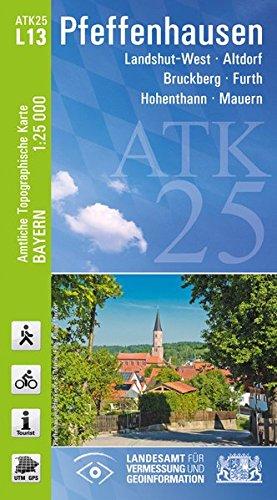 9783899334456: Pfeffenhausen 1 : 25.000: Rad- und Wanderkarte / Landshut-West / Altdorf / Bruckberg / Furth / Hohenthann / Mauern