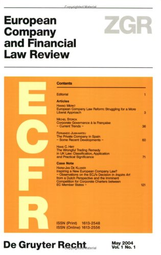 9783899492675: European Company Financial Law Review: Vol 1