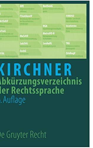 Abkurzungsverzeichnis der Rechtssprache (German Edition): Pannier, Dietrich, Kirchner, Hildebert