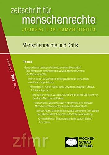 9783899749007: Menschenrechte und Kritik: Zeitschrift für Menschenrechte 2/2013