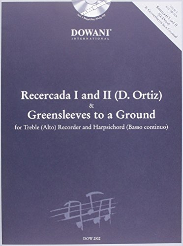 9783905476569: Ortiz - Recercada I G Minor II G and Greensleeves to a Ground for Treble (Alto) Recorder and BC
