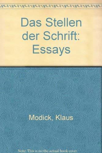 9783922524649: Das Stellen der Schrift: Essays (German Edition)
