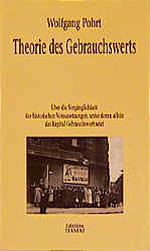 9783923118496: Theorie des Gebrauchswerts: Über die Vergänglichkeit der historischen Voraussetzungen, unter denen allein das Kapital Gebrauchswert setzt