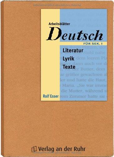 9783927279872 Arbeitsblätter Deutsch Literatur Lyrik