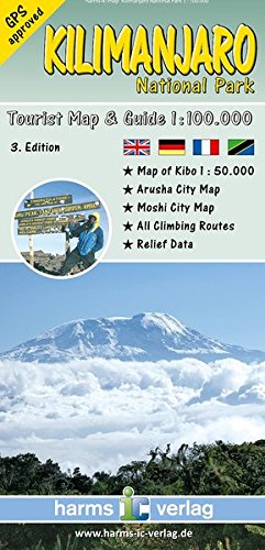 9783927468290: Kilimanjaro National Park, Tourist Map & Guide (English, French and German Edition)