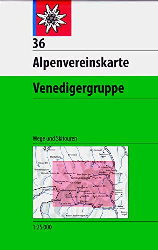 DAV Alpenvereinskarte 36 Venedigergruppe 1 : 25 000 Wegmarkierungen / Skirouten: Collectif