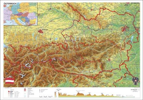 9783929627480: Österreich physisch, Stiefel Wandkarten Kleinformat 95 x 67 cm, Poster, laminiert
