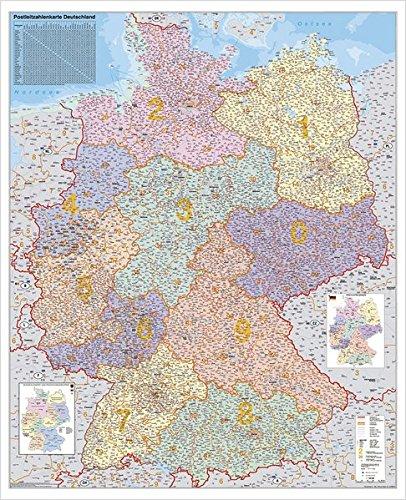 9783929627510: Postleitzahlen-Karte Deutschland. Wandkarte Kleinformat ohne Metallst�be