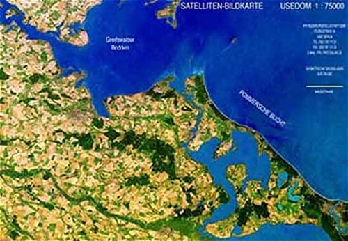 Satellitenbildkarte Usedom: Landschaften aus dem Weltraum. 1:75.000