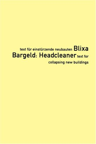 9783931126124: Headcleaner /Anglais/Allemand