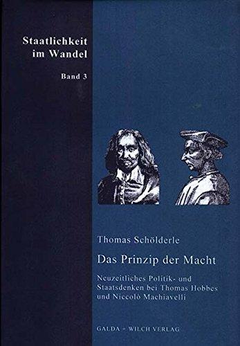 9783931397449: Das Prinzip der Macht: Neuzeitliches Politik- und Staatsdenken bei Thomas Hobbes und Niccolo Machiavelli