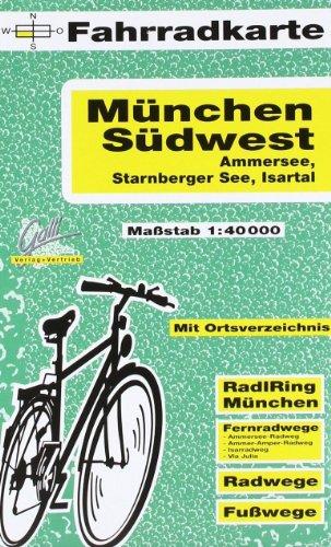9783931944339: München-Südwest 1 : 40 000. Fahrradkarte: Mit Ortsverzeichnis, RadlRing München, Fernradwege: Ammersee-Radweg, Ammer-Amper-Radweg, Isarradweg, Via Julia; Radwege und Fußwege