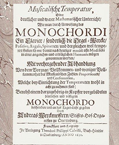 9783932090127: Werckmeister. Musicalische Temperatur: Reprint der Auflage Quelinburg 1691