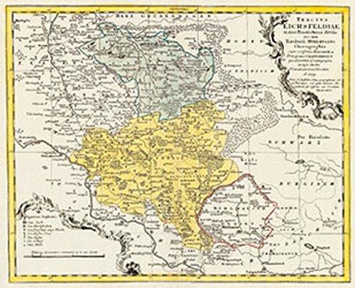 Historische Karte: Das Eichsfeld - 1759 (Plano): 'Tractus Eichsfeldiae in suas Praefecturas ...