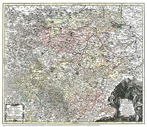 Historische Karte: Land Thüringen 1740 (Plano): Kartuscheninschrift: Tobias Conrad Lotter;