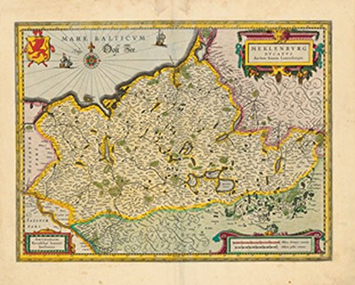 Historische Landkarte: Herzogtum Mecklenburg - 1647 (Plano): Johannes Janssonius