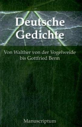 9783933497321: Deutsche Dichtung: Deutsche Balladen von Johann Wilhelm Gleim bis Georg Trakl. Deutsche Lyrik von Walther von der Vogelweide bis Gottfied Benn. Eine Anthologie in zwei B�nden