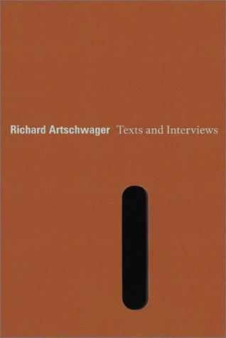 9783933807854: Richard Artschwager: Text and Interviews