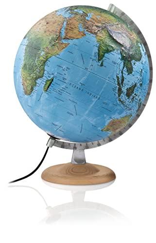 9783934922174: Atmosphere R4 silver Globus: 3-D-Doppelbild-Leuchtglobus 30 cm, silberfarb. Metallmeridian, Fuß Buche natur