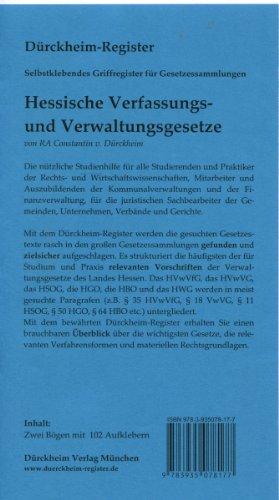 9783935078177: Hessische Verfassungs- und Verwaltungsgesetze: 102 selbstklebende, bedruckte Griffregister für Fuhr /Pfeil