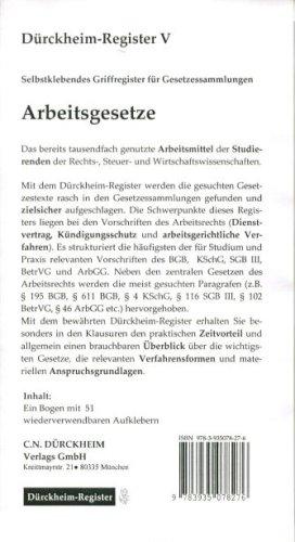 9783935078276: Dürckheim-Register für Arbeitsrecht. Selbstklebende und bedruckte Griffregister.
