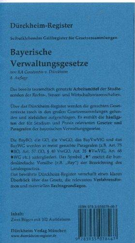 9783935078467: Ziegler-Tremel, Bayerische Verwaltungsgesetze, Griffregister