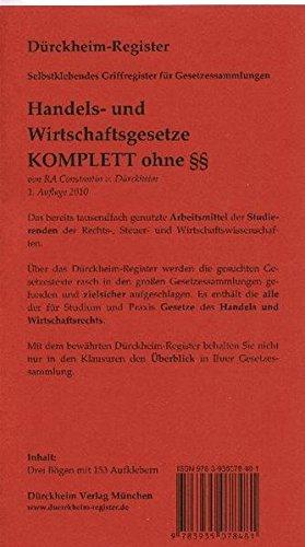 9783935078481: Griffregister: HANDELS UND WIRTSCHAFTSGESETZE : 153 bedruckte Griffregister ohne einzelne ��