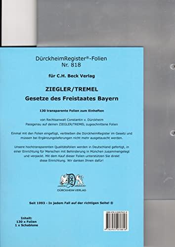 9783935078818: Folien für Ziegler-Tremel Zum Einheften und Unterteilen der Loseblattgesetzessammlungen: An der eingehefteten transparente Folie werden ... Folie einen gewissen Schutz vor Abnutzung