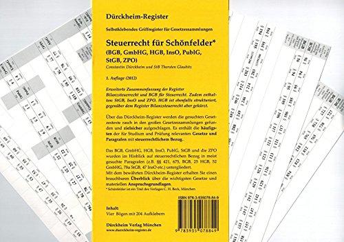 9783935078849: Steuerrecht für Schönfelder (2012)  (BGB, GmbHG, HGB, InsO, PublG, StGB, ZPO) 204 Selbstklebende und bedruckte Griffregister für die Sammlung Schönfelder: Rechtsstand: Jul 2012