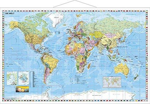9783935794428: Weltkarte deutschsprachig. Wandkarte mit Metalllei