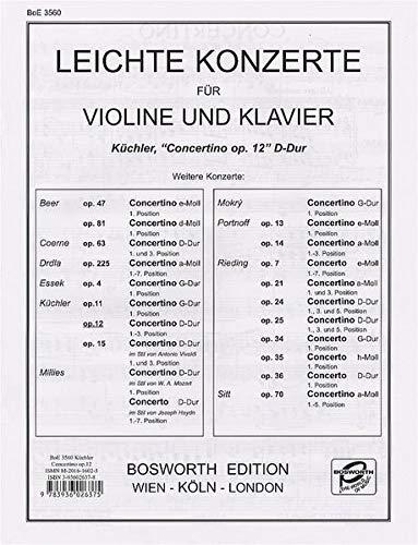 9783936026375: Concertino en R� Maj. Op.12 - Vl/Po