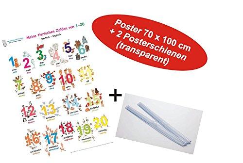 9783938573600: Meine tierischen Zahlen von 1-20 deutsch/Englisch + Posterschienen: Lernposter, gerollt, abwaschbar + UV-Lack beschichtet + 2 Posterschienen