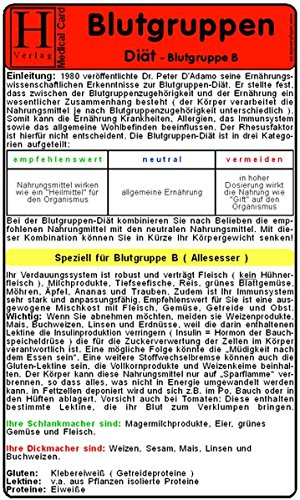 9783939081210: Blutgruppen - Diät B. Medical Card DIN A5