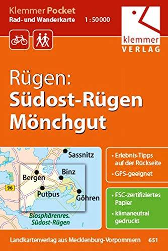 9783940175182: Rügen: Südost-Rügen, Mönchgut 1 : 50 000 Rad- und Wanderkarte: Klemmer-Pocket, GPS geeignet, Erlebnis-Tipps auf der Rückseite