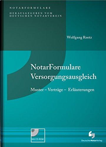 NotarFormulare Versorgungsausgleich: Wolfgang Reetz