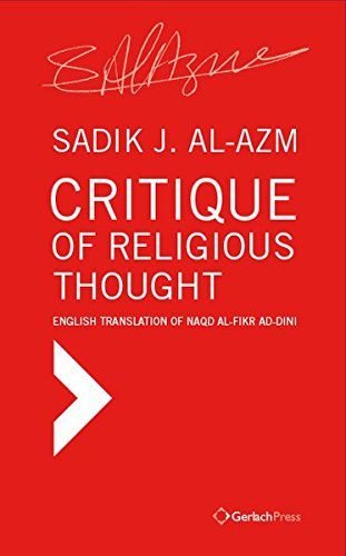 9783940924445: Critique of Religious Thought