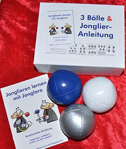 9783940965295: 3 Bälle & Jonglier-Anleitung(blau, weiß, silber)
