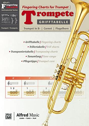 9783943638646: Grifftabelle Trompete | Fingering Charts for Trumpet: Zweisprachige Grifftabelle f�r Trompete in Bb, Kornett und Fl�gelhorn mit Triller- und Transponiertabelle sowie Tipps zu Pflege und Tonumfang