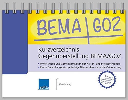 Kurzverzeichnis Gegenüberstellung BEMA/GOZ: Jana Brandt
