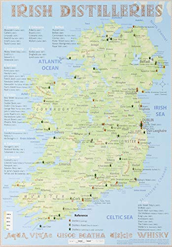 Map Of Ireland Poster.9783944148120 Whiskey Distilleries Ireland Poster 42x60cm