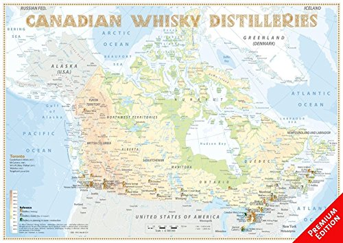 Whisky Distilleries Canada - Poster 60x42cm - Premium Edition: The Whiskylandscape in Overview - ...