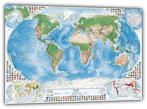 9783945304150: Satélite de imagen mapa del mundo con 4además de tarjetas, Poster: 100 x 70 cm
