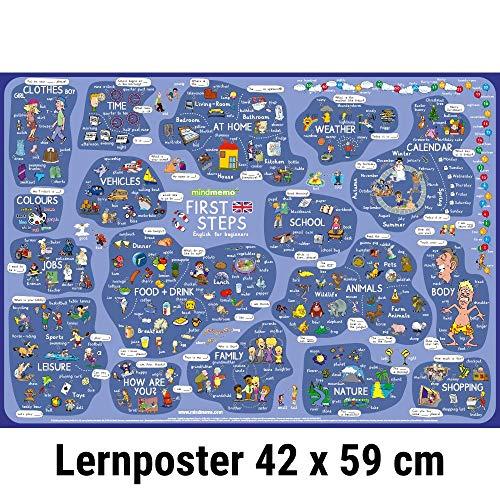 9783954130092: mindmemo Lernposter - First Steps - Englisch für Einsteiger - Vokabeln lernen mit Bildern - Zusammenfassung