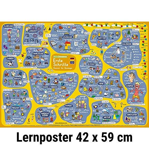 9783954130177: mindmemo Lernposter - Erste Schritte - Deutsch für Einsteiger - Vokabeln lernen mit Bildern - Zusammenfassung